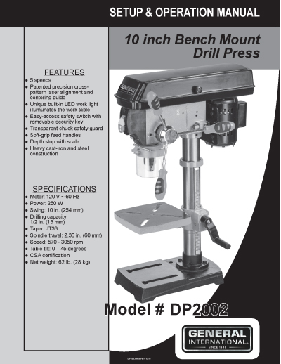General International Power Products 10 5 Speed Drill