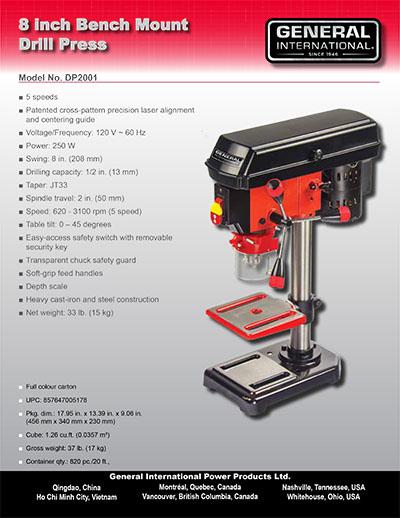 Drill Press Guard >> General International Power Products   8″ 5 Speed Drill Presswith LaserDP2001